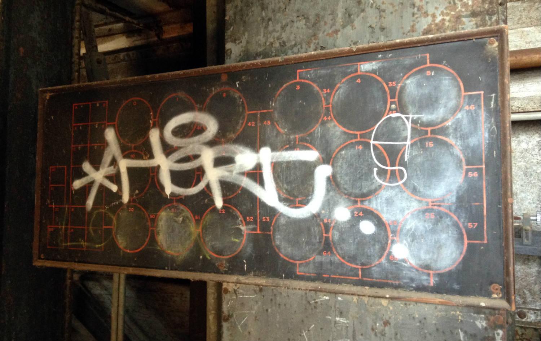 Chalkboard Diagram of Perot Silos; Buffalo, NY