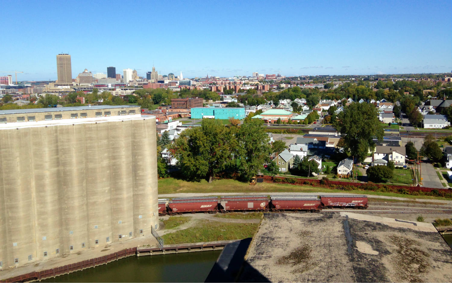 Aerial View of the Old First Ward of Buffalo from Perot Silo