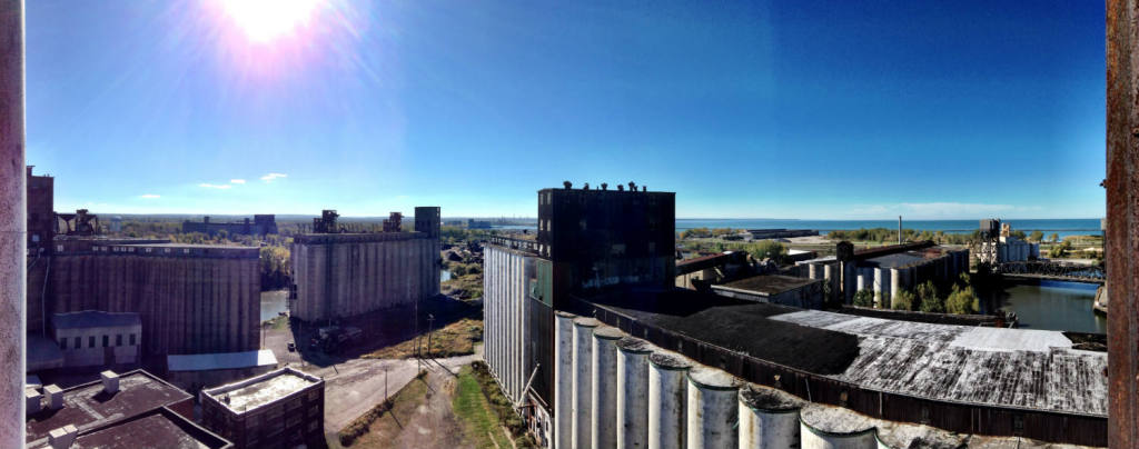 Aerial View of Silo City in Buffalo, NY from the top floor of the Perot Silo