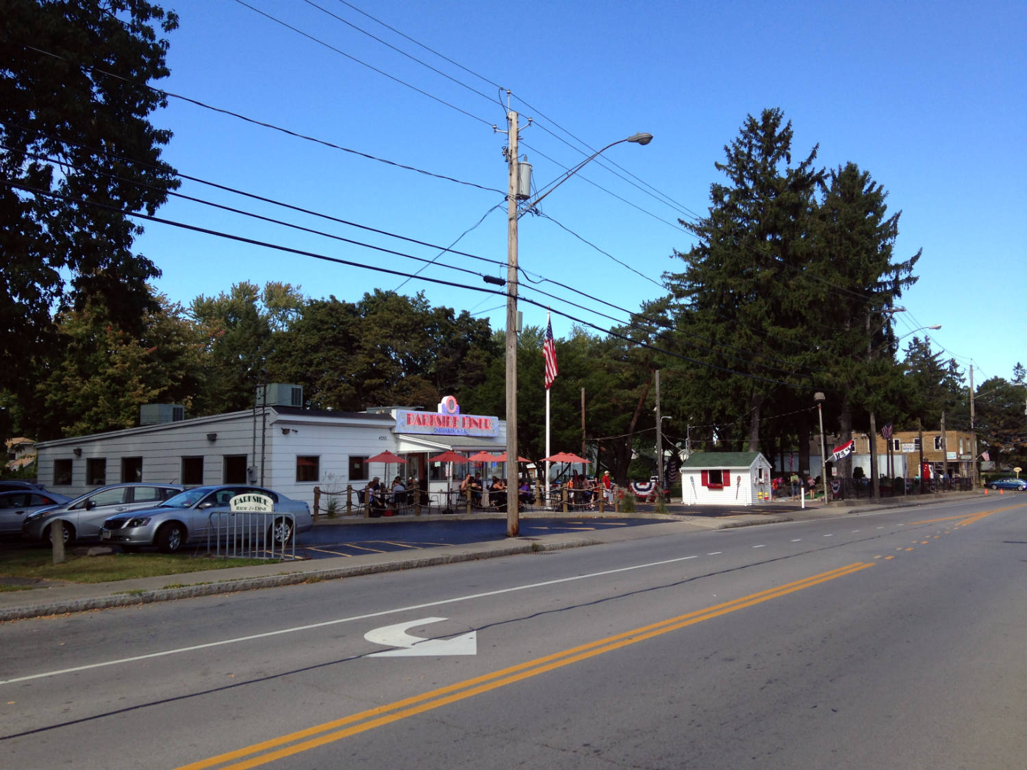Culver Road view of Parkside Diner and Whispering Pines Mini Golf; Rochester, NY