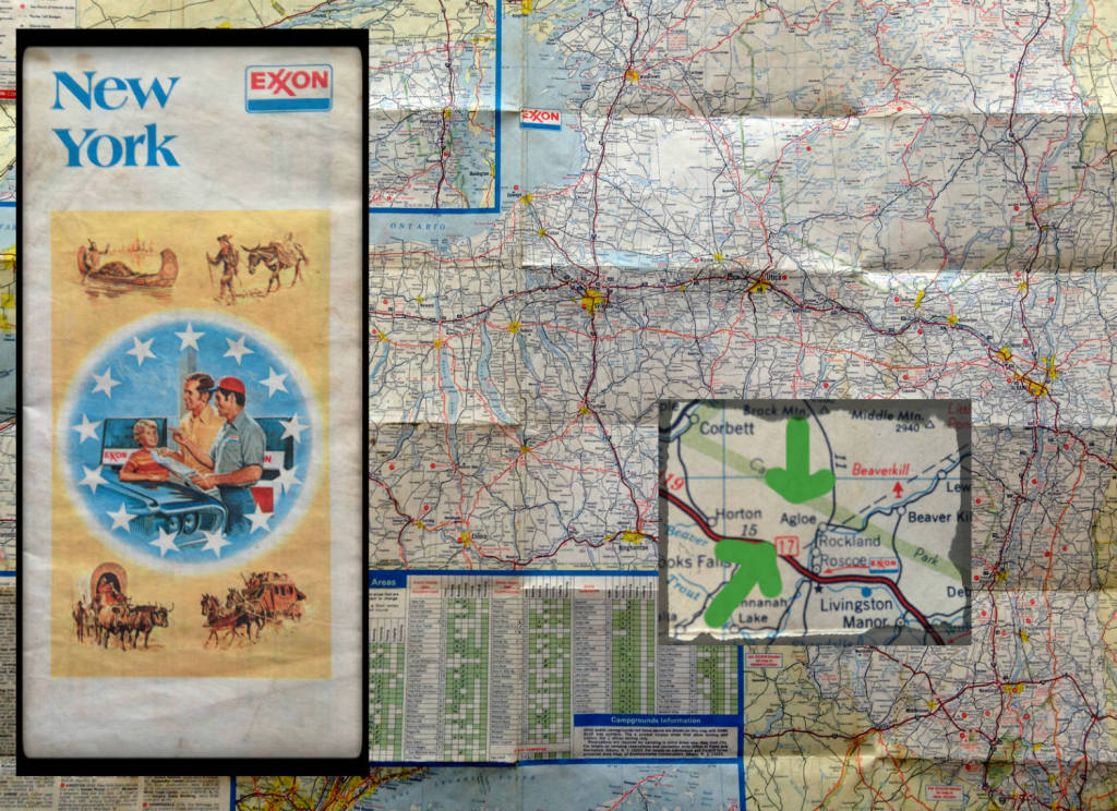 Exxon Map of New York State featuring zoom of Agloe, NY