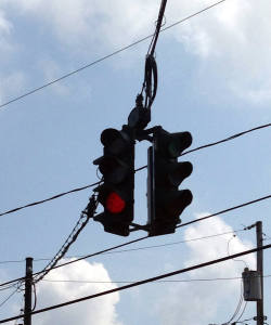 Red on Bottom Traffic Light in Tipperary Hill in Syracuse, NY
