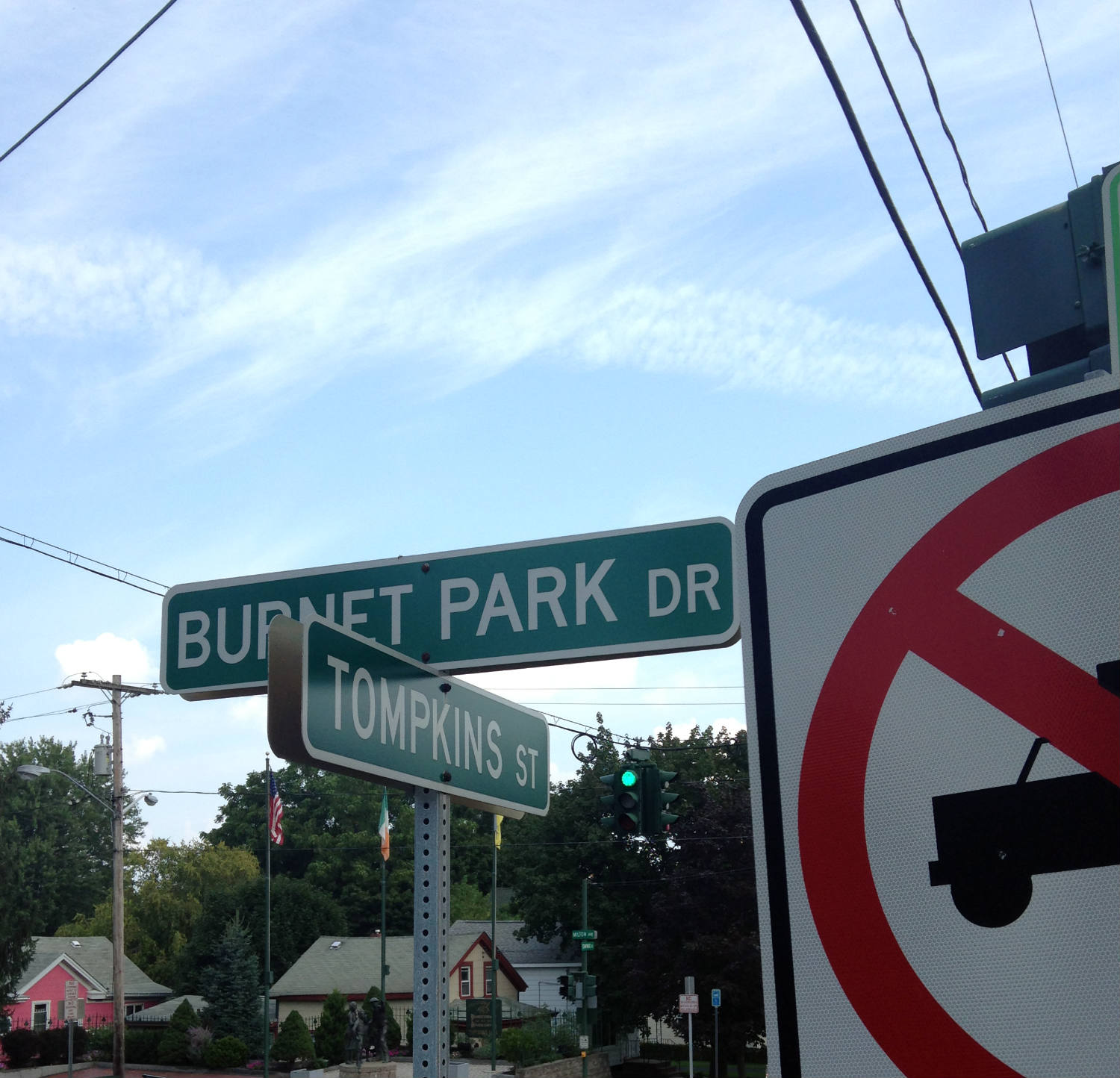 Burnet Park and Tompkins Intersection Signs in Tipperary Hill