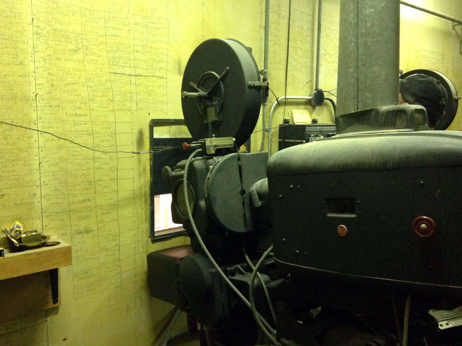 Projector and Movie Titles in Hadley Hall at Willard