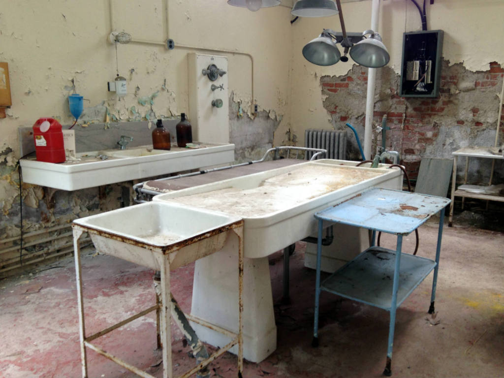 Embalming Table and Equipment at Willard Asylum Tour in Ovid, NY