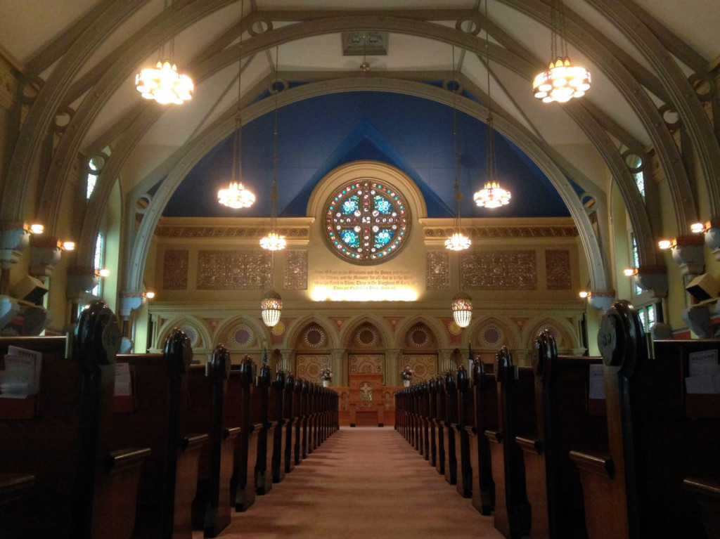 The Sanctuary at the First Presbyterian Church in Bath, NY. Designed by Louis Comfort Tiffany