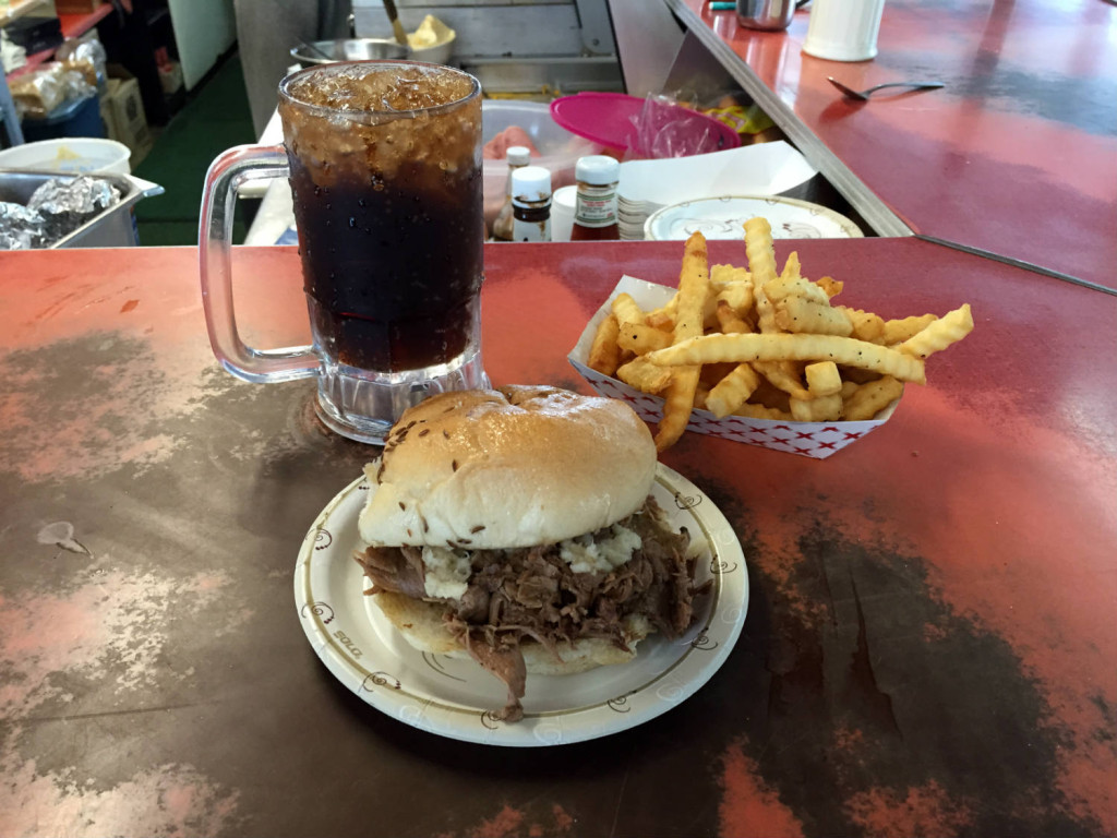 Beef On Weck and French Fries with a Root Beer in a Frosted Mug at the Pok-A-Dot in Batavia, NY