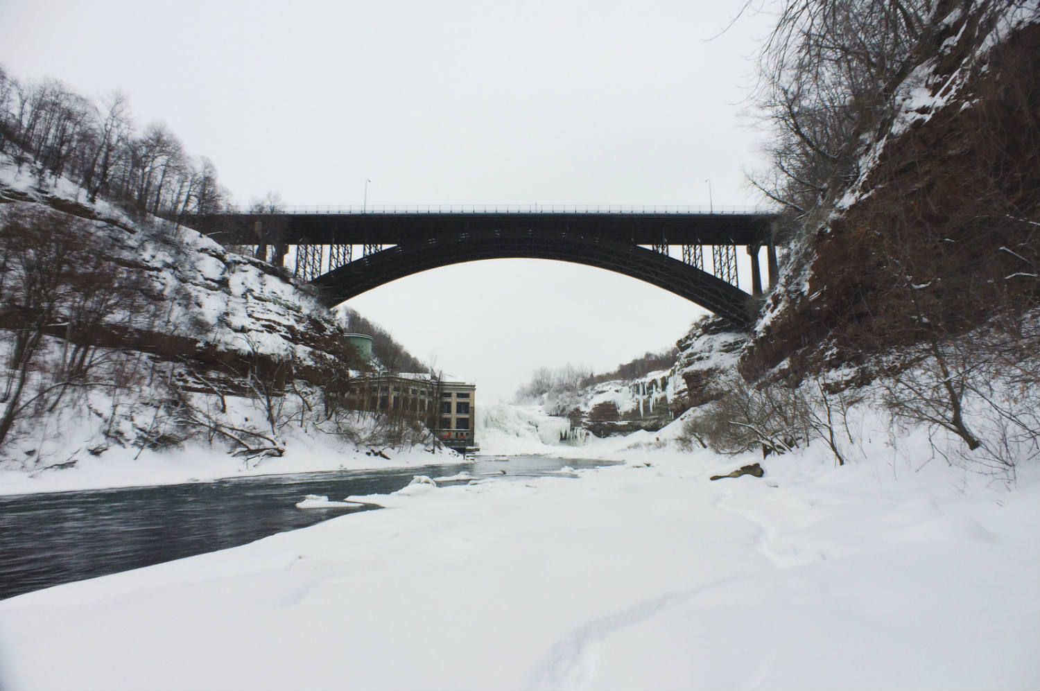 Genesee River and Lower Falls Gorge in Winter; Rochester, NY