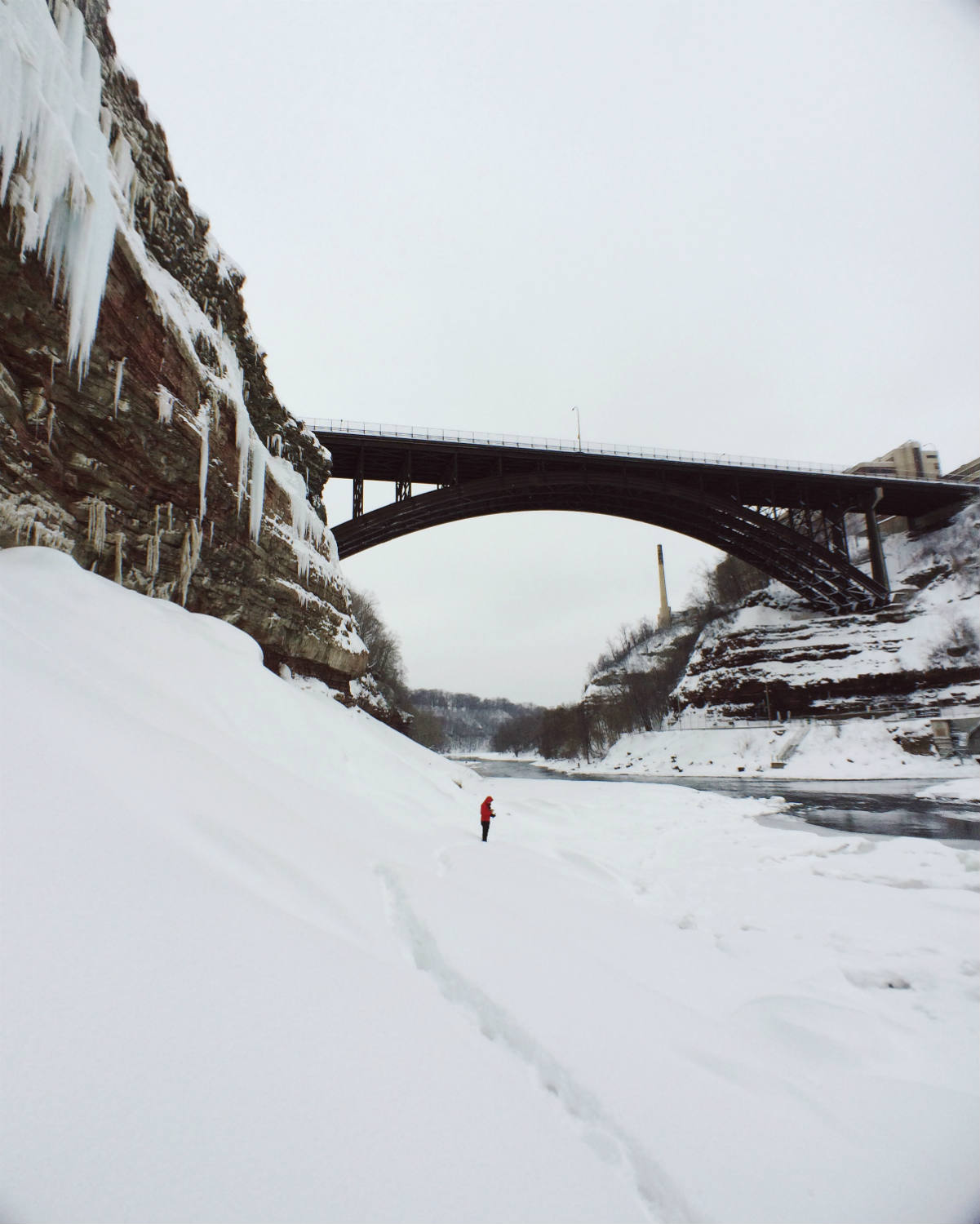 Genesee River and Driving Park Bridge during Winter