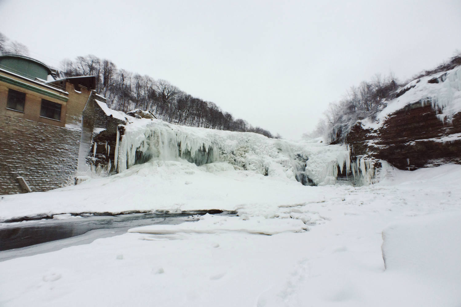 Frozen Lower Falls in Rochester, NY