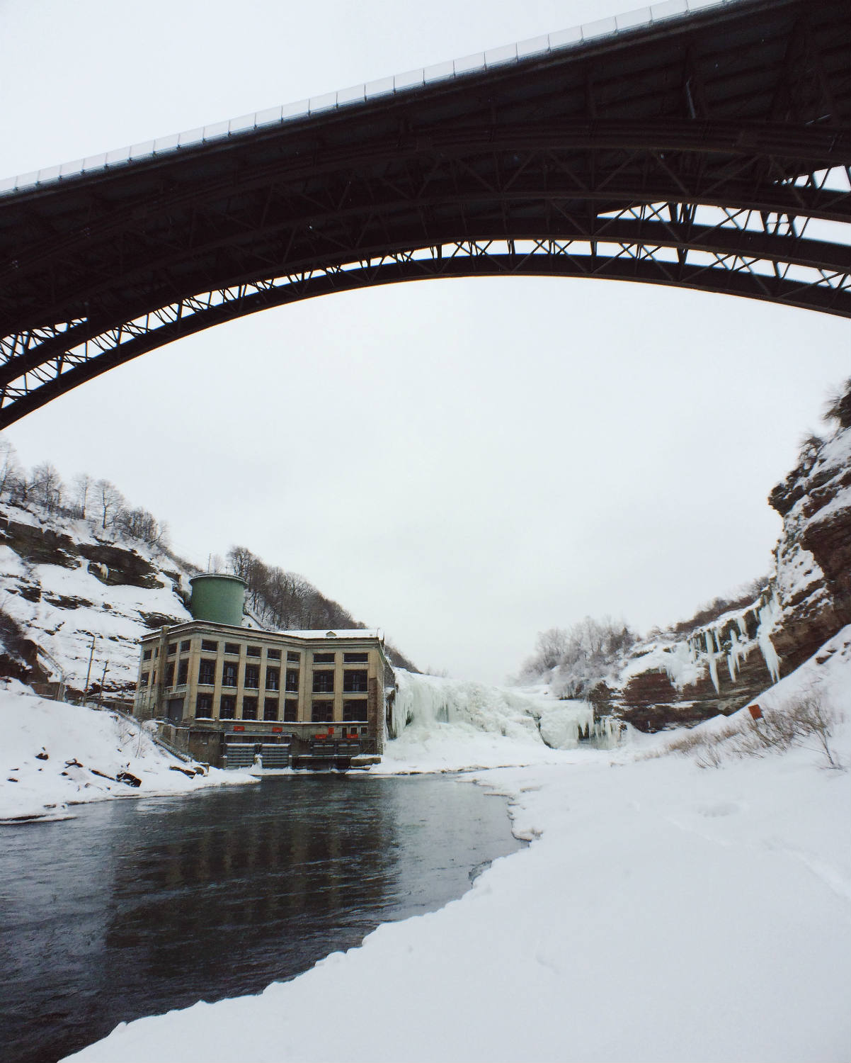 Lower Falls Gorge and Driving Park Bridge and Rochester Gas and Electric during Winter