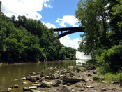 Fishing in the Genesee River Gorge at Lower Falls in Rochester, NY
