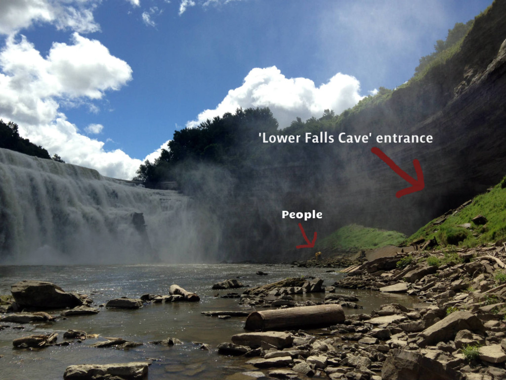 Lower Falls and Cave Entrance in Rochester, NY