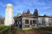 Clifton Springs Sanitarium Company Barn and Silo with Gas Pump