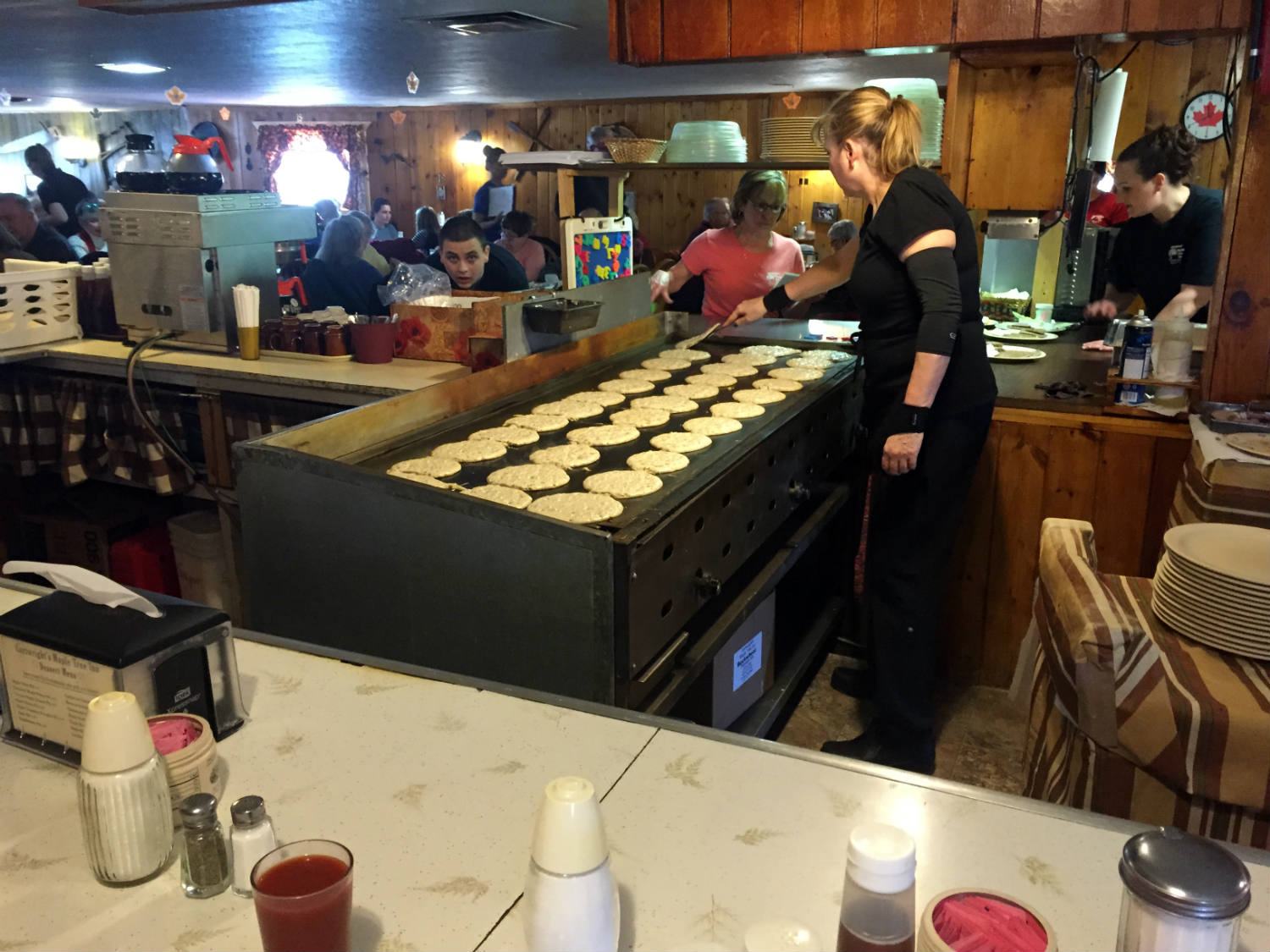 Buckwheat pancakes on the grill at Cartwright's Maple Tree Inn in Angelica, NY