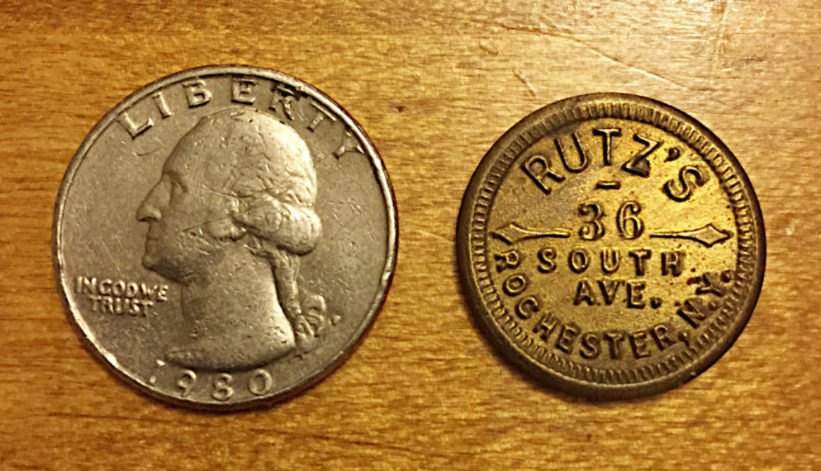 Rutz's Saloon Token 36 South Ave Rochester, NY