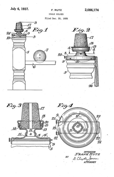 Frank Rutz Rochester, NY Chalk Holder Patent