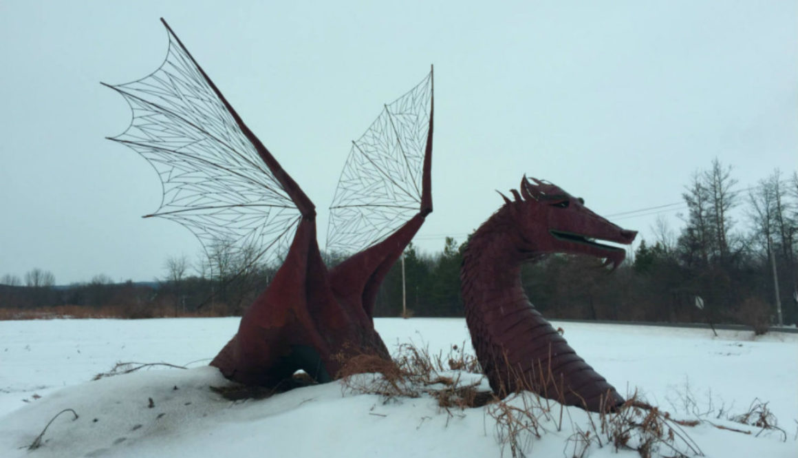 Dragon Sculpture in East Bethany, NY - Featured Image