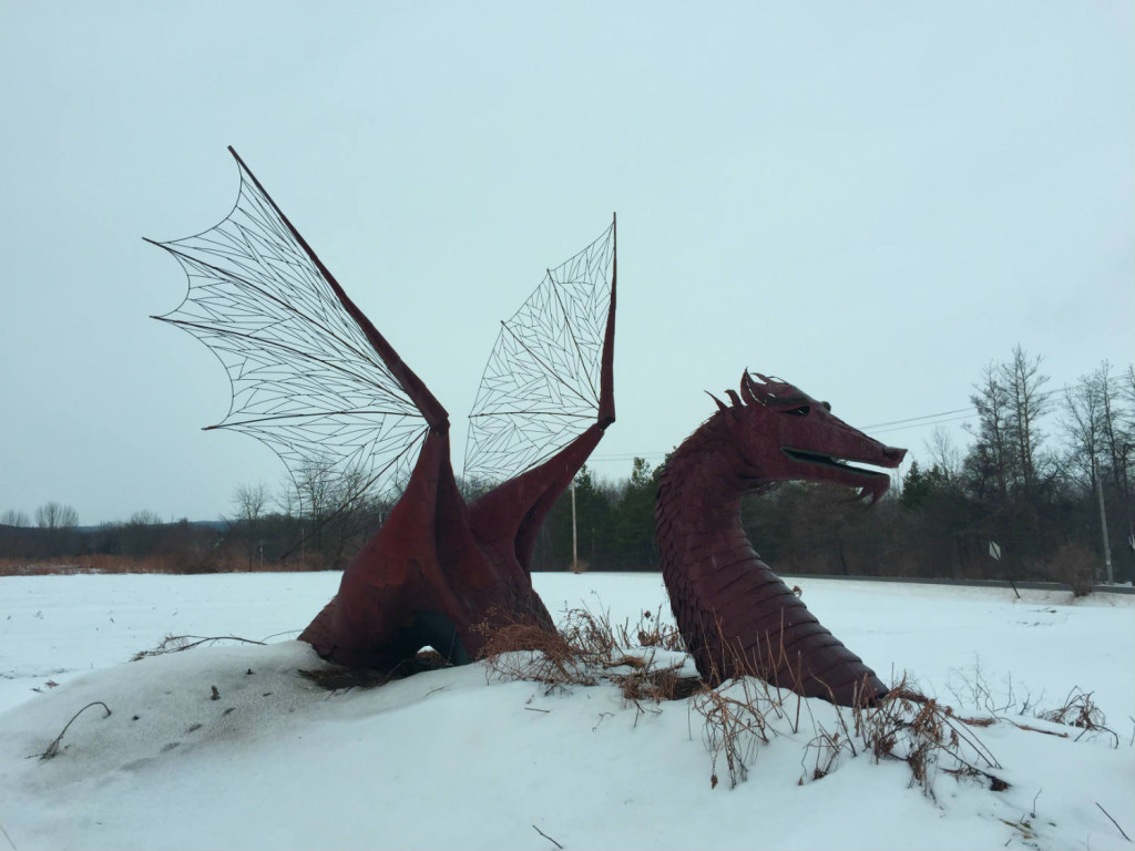Metal Dragon Sculpture in East Bethany, NY Genesee County
