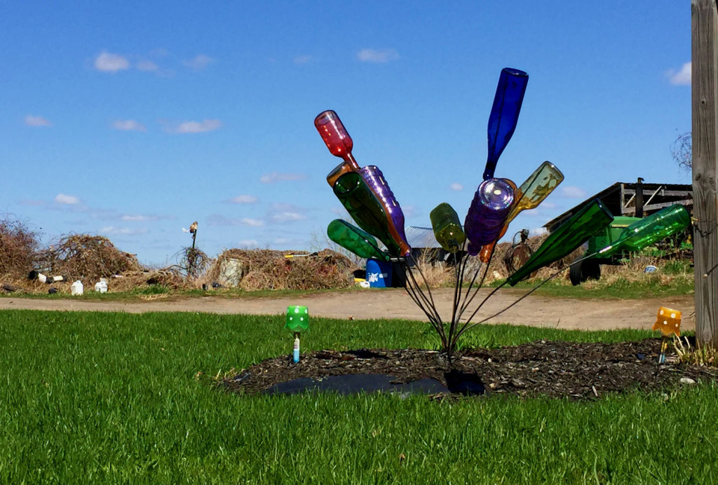 Colored Bottle Tree near Lakeville on Route 20A