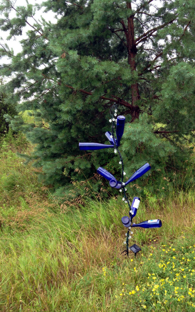 Blue Wine Bottle Tree Sculpture