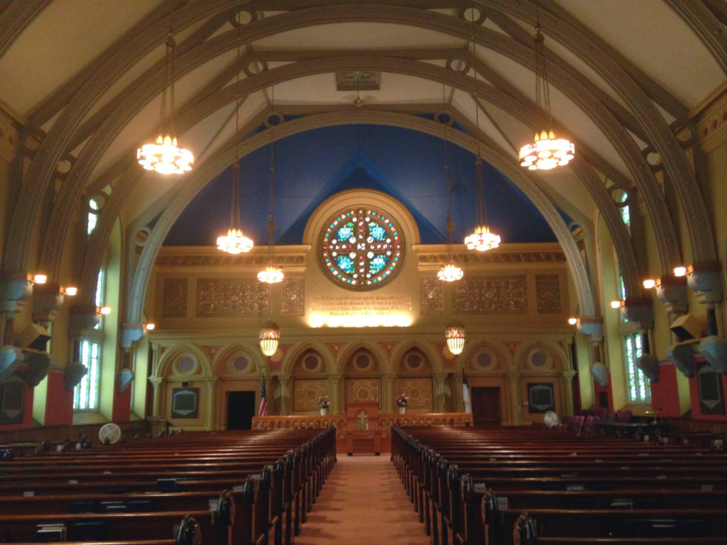 Nave of First Presbyterian Church of Bath by Louis Comfort Tiffany