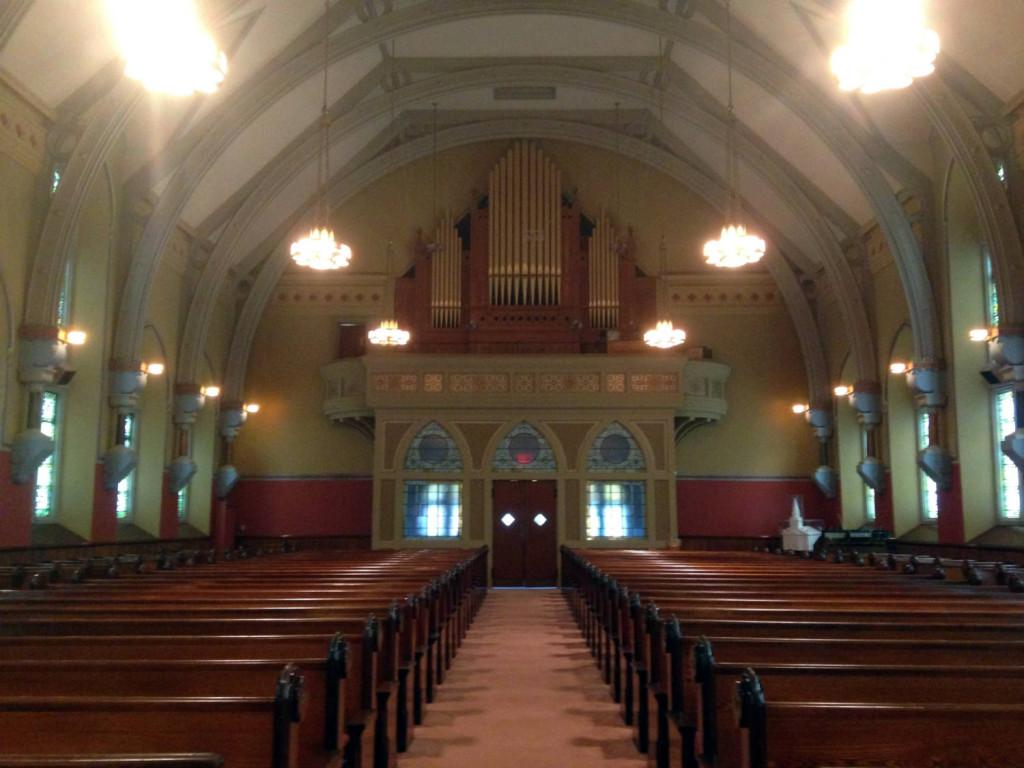 Rear of Nave in First Presbyterian Church in Bath, New York