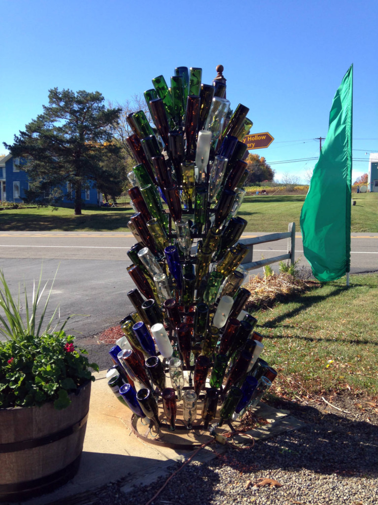 Wine Bottle Tree Outside Glenora Wine Cellars in Dundee, NY