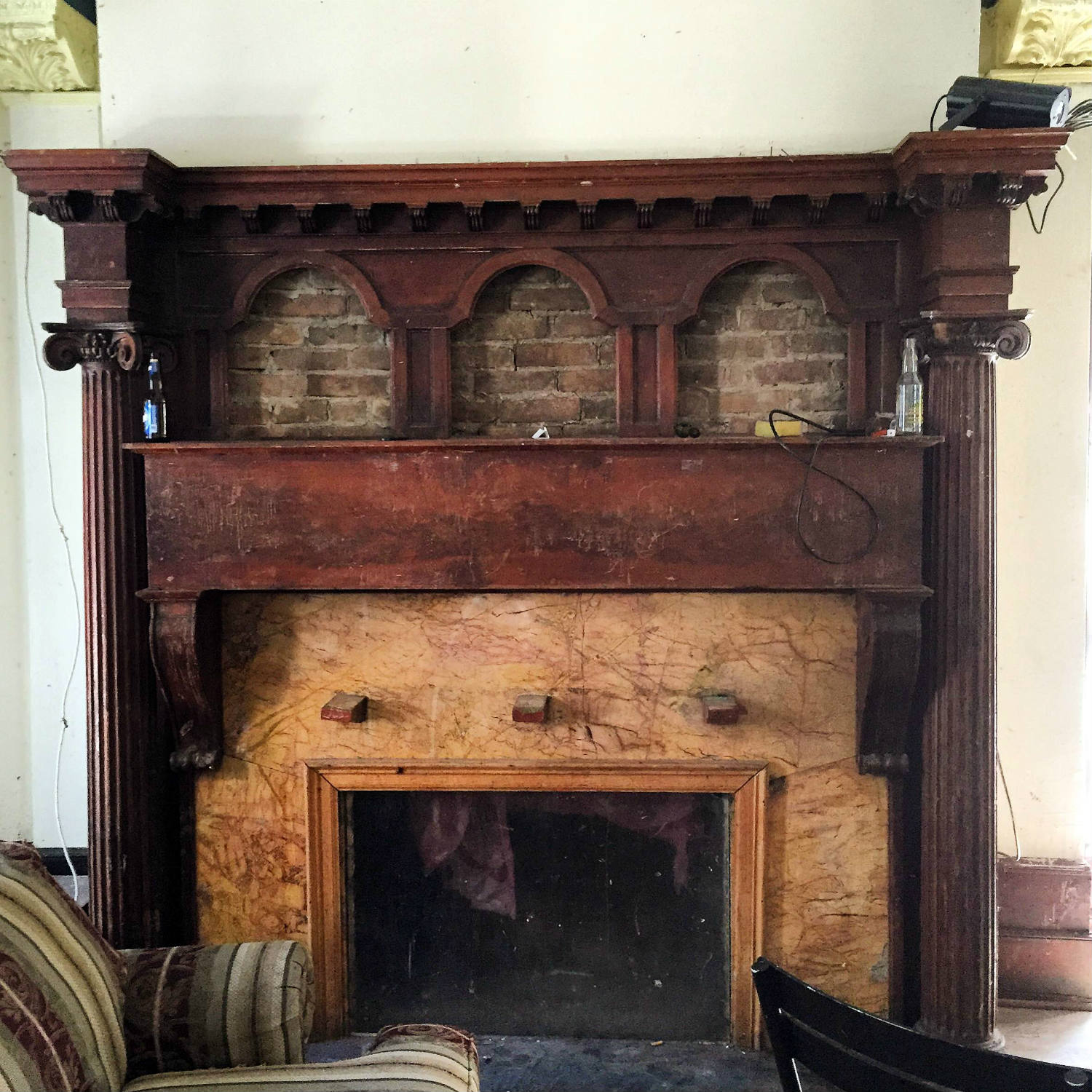 Fireplace inside 304 Walnut Place in Syracuse