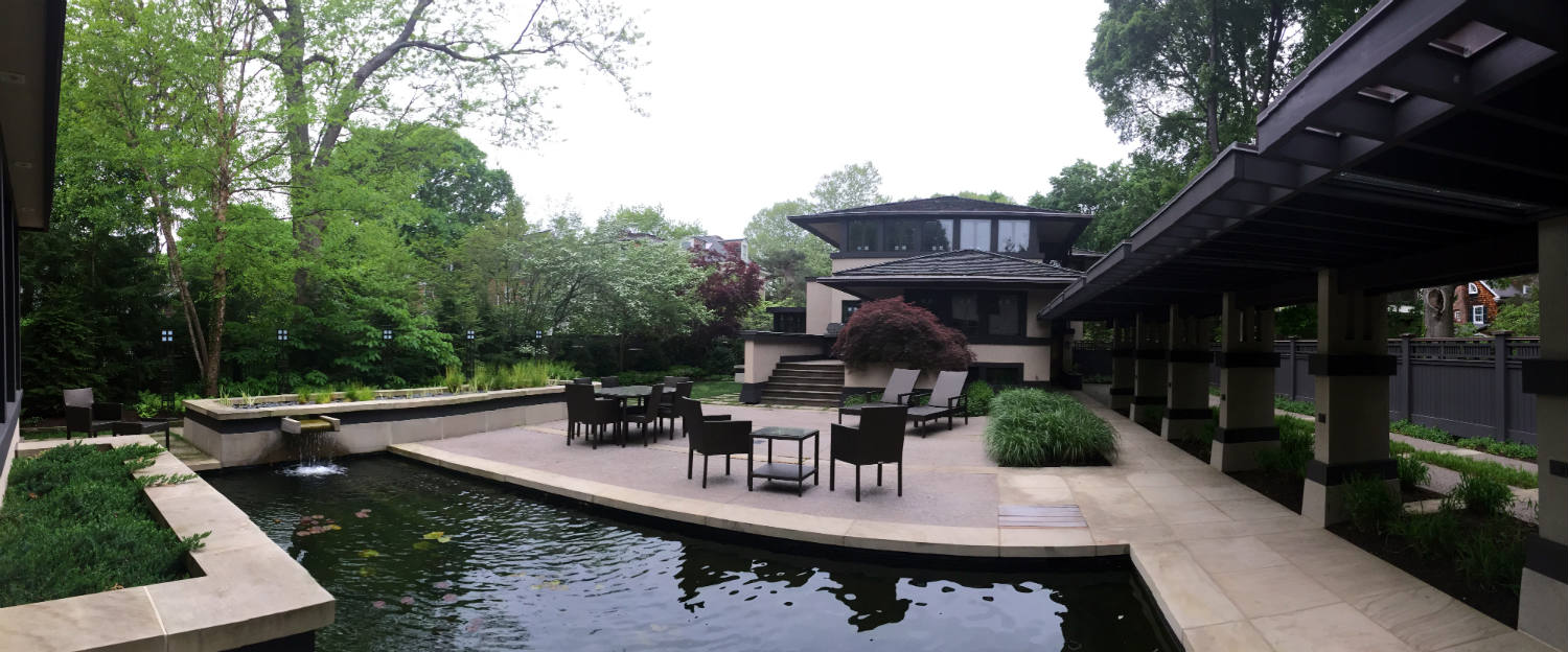 Panoramic View Of Back Patio At The Boynton House