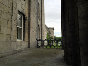 Portico View at the New York State Asylum at Utica in New York