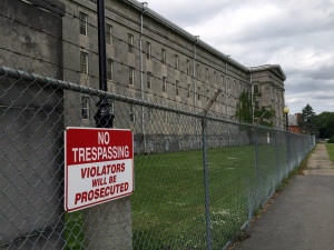 No Trespassing Sign at Old Main in Utica