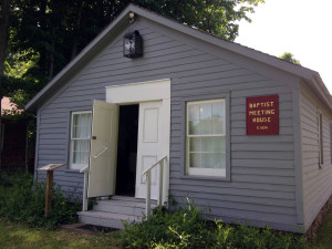 Baptist Meeting House Entrance in Heritage Square Museum in Ontario, New York