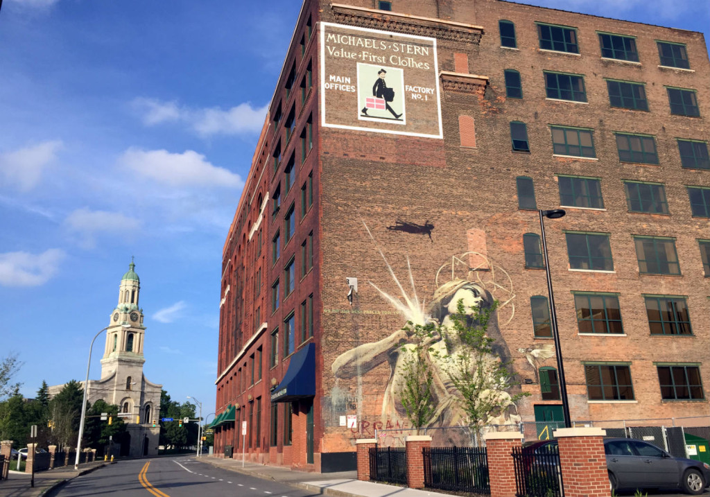 St. Joseph's Park in Downtown Rochester, New York with Wall Therapy Mural