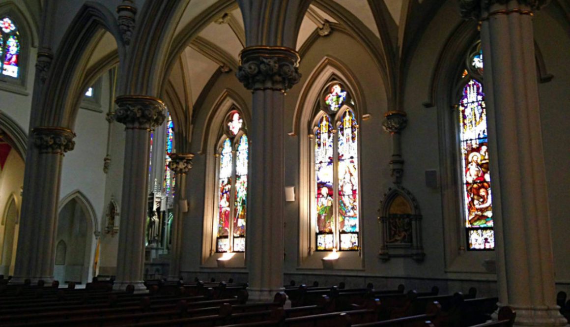 Stained Glass and Nave in Buffalo's St. Joseph Cathedral