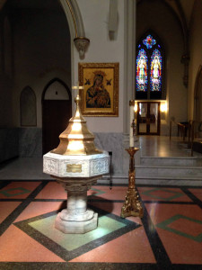 Baptismal Font at St. Joseph Cathedral in Buffalo, New York