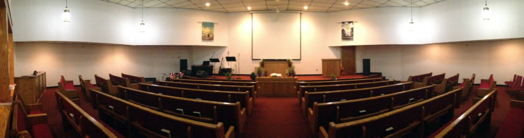 Panoramic View of the Sanctuary within the Calvary Baptist Church in LeRoy, New York