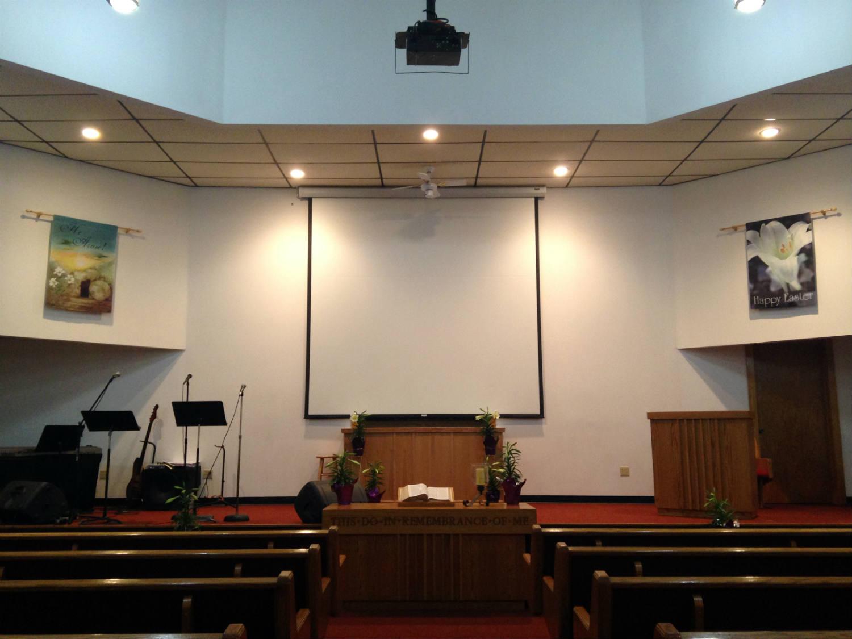 Altar in the Calvary Baptist Church in LeRoy, New York