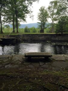 Pond and Overlook Mountain in Opus 40 in Saugerties