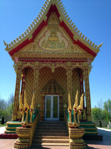 Front Entrance to the Main Temple at the Wat Pa Lao Buddhadham in Rush, NY