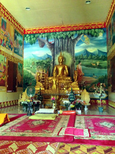 Inside the Main Temple at the Wat Pa Lao Buddhadham in Rush