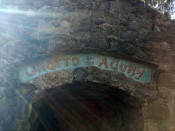 Grotto of the Agony entrance sign in Conesus