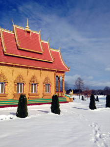 Wat Pa Lao Buddhadham in the Winter in Rush, NY