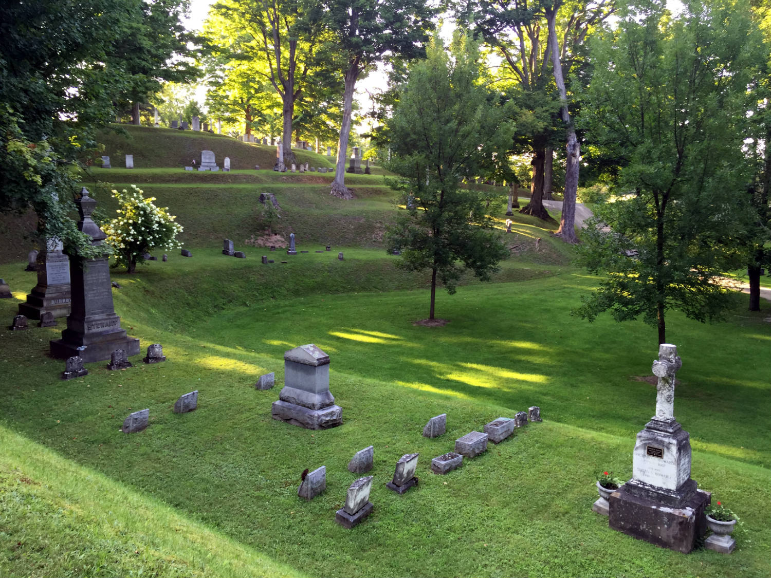 Terraces and Moraine in Mt. Albion Cemetery in Orleans County