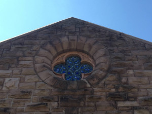 Window at the Pullman Memorial Universalist Church in Albion