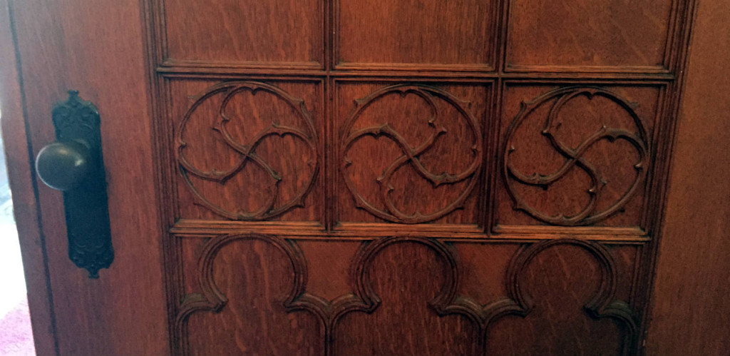 Wooden Door Details in the Pullman Memorial Universalist Church in Albion