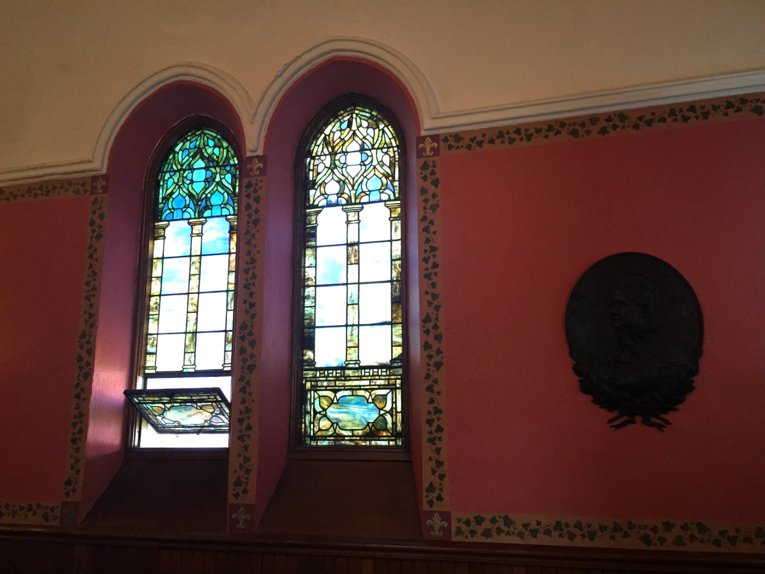 Tiffany Windows in the Pullman Memorial Universalist Church in Albion