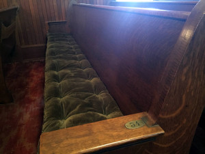 Numbered Pew in the Pullman Memorial Universalist Church in Albion