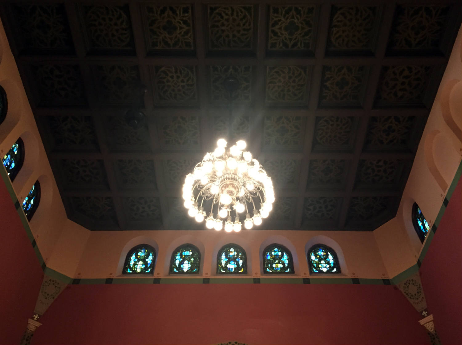 Ceiling Detail and Windows in the Pullman Memorial Universalist Church in Albion