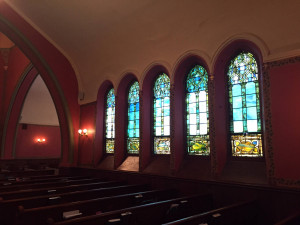 Tiffany Windows at the Pullman Memorial Universalist Church in Albion
